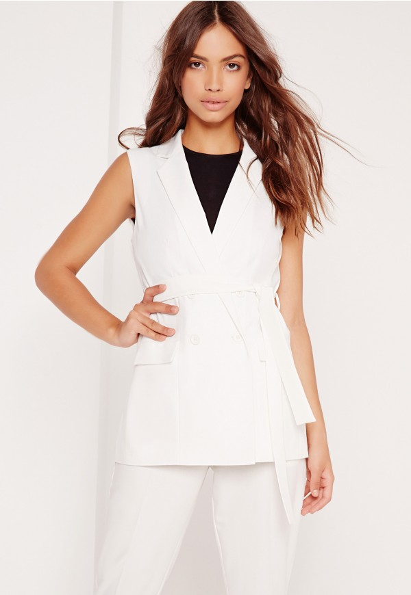 MissguidedUS White Double Breasted Vest | Vests